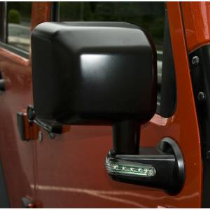 Exterior Accessories - Mirrors - Rugged Ridge - Rugged Ridge Door Mirror with LED Signals, Black, Right (2007-15) Jeep Wrangler JK