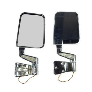 Exterior Accessories - Mirrors - Rugged Ridge - Rugged Ridge Door Mirror Kit, LED Turn Signals, Chrome (1987-02) Jeep Wrangler