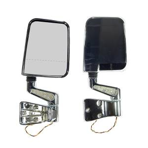 Exterior Accessories - Mirrors - Rugged Ridge - Rugged Ridge Door Mirror Kit, LED Signal, Dual Focus, Chrome (1987-02) Jeep Wrangler