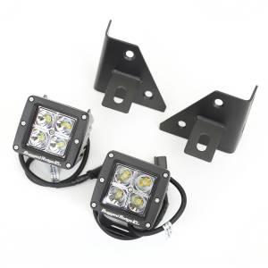 Lighting - Lighting Mounts - Rugged Ridge - Rugged Ridge Windshield Bracket LED Kit, Black, Square (1976-95) CJ/Wrangler YJ