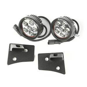 Off-Road Lighting - LED Lights - Rugged Ridge - Rugged Ridge Windshield Bracket LED Kit, Textured Black, Round (2007-15) Wrangler JK