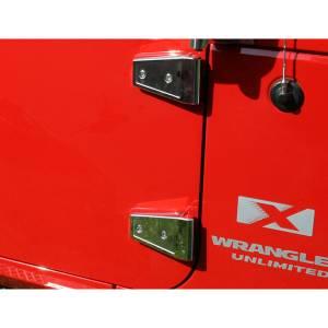 Jeep Doors - Door Accessories - Rugged Ridge - Rugged Ridge Door Hinge Cover Kit, Stainless Steel (2007-15) Jeep Wrangler JK