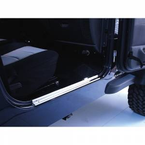 Exterior Accessories - Armor & Protection - Rugged Ridge - Rugged Ridge Door Entry Guards, Stainless Steel (1997-06) Jeep Wrangler TJ