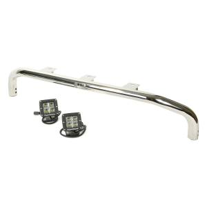 Off-Road Lighting - LED Lights - Rugged Ridge - Rugged Ridge Bumper Mounted Light Bar Kit, Stainless Steel, Square (2007-15) Wrangler