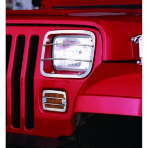 Lighting - Lighting Accessories - Rugged Ridge - Rugged Ridge Euro Guard Set, Stainless Steel (1987-95) Jeep Wrangler YJ