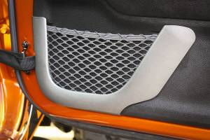 Jeep Doors - Door Accessories - Rugged Ridge - Rugged Ridge Door Net Trim, Front Row, Brushed Silver (2011-15) Jeep Wrangler JK