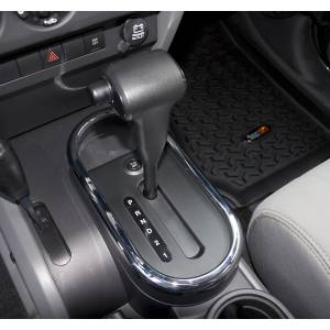 Interior Accessories - Interior Dress Up  - Rugged Ridge - Rugged Ridge Transmission Shifter Trim, Chrome (2007-10) Jeep Wrangler JK, Automatic