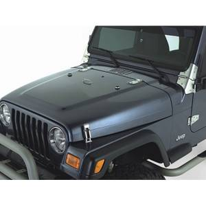 Body Parts - Jeep Hoods - Rugged Ridge - Rugged Ridge Complete Hood Kit, Satin Stainless Steel (1998-06) Jeep Wrangler TJ