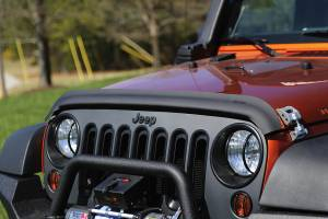 Exterior Accessories - Bug Guards/Hood Shields - Rugged Ridge - Rugged Ridge Bug Deflector, Matte Black (2007-15) Jeep Wrangler JK