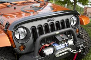 Exterior Accessories - Bug Guards/Hood Shields - Rugged Ridge - Rugged Ridge Wraparound Bug Deflector, Smoke (2007-15) Jeep Wrangler JK