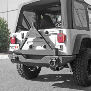 Brush Guards & Bumpers - Tire Carriers - Rugged Ridge - Rugged Ridge Tire Carrier, XHD Rear Bumper (1976-06) Jeep CJ/Wrangler YJ/TJ