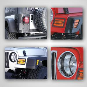 Lighting - Lighting Accessories - Rugged Ridge - Rugged Ridge Euro Guard Light Kit (1997-06) Jeep Wrangler TJ
