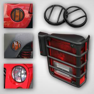 Body Parts - Jeep Fenders - Rugged Ridge - Rugged Ridge 10 Piece Euro Guard Light Kit, Black (2007-15) Jeep Wrangler, JK