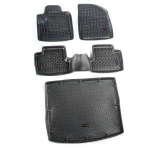 Rugged Ridge - Floor Liners, Kit, Black, Front/Rear/Cargo; 14-15 Jeep Cherokee KL