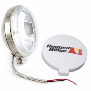 Lighting - Rugged Ridge - Rugge Ridge 6 Inch Slim Halogen Fog Light Kit, Stainless Steel Housing