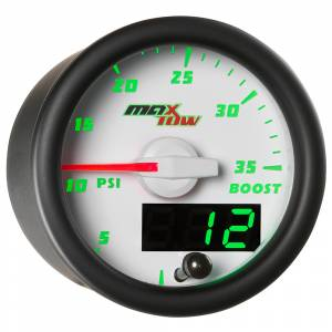 "2-1/16"" Gauges - MaxTow White Double Vision Series - MaxTow Gauges - MaxTow White Double Vision Boost Pressure Gauge, 35psi"