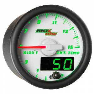 "2-1/16"" Gauges - MaxTow White Double Vision Series - MaxTow Gauges - MaxTow White Double Vision EGT/Pyrometer Gauge, 1500 F"