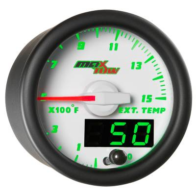 "Gauges - 2-1/16"" Gauges - MaxTow White Double Vision Series"