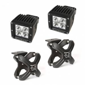 Off-Road Lighting - Cube LED Lights - Rugged Ridge - Rugged Ridge X-Clamp and Square LED Light Kit, Small, Textured Black, 2 Piece