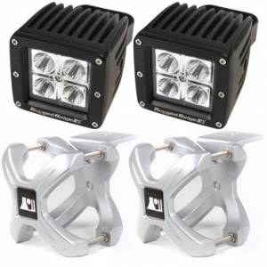 Off-Road Lighting - LED Lights - Rugged Ridge - Rugged Ridge X-Clamp and Square LED Light Kit, Large, Silver, 2 Pieces