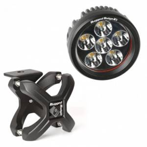 Off-Road Lighting - LED Lights - Rugged Ridge - Rugged Ridge X-Clamp and Round LED Light Kit, Large, Textured Black, 1 Piece