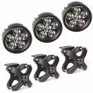Off-Road Lighting - LED Lights - Rugged Ridge - Rugged Ridge X-Clamp and Round LED Light Kit, Large, Silver, 3 Pieces