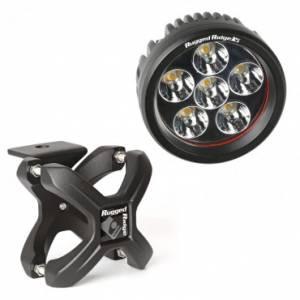 Off-Road Lighting - LED Lights - Rugged Ridge - Rugged Ridge X-Clamp and Round LED Light Kit, Large, Silver, 1 Piece