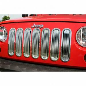 Exterior Accessories - Grilles - Rugged Ridge - Rugged Ridge Billet Grille Insert, Polished Aluminum (2007-15) Jeep Wrangler JK