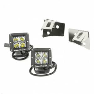 Lighting - Lighting Mounts - Rugged Ridge - Rugged Ridge Windshield Bracket LED Kit, Black, Square (2007-15) Jeep Wrangler JK