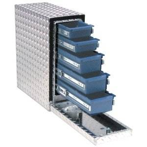 "Tools - Tool Boxes - UWS Tool Boxes - UWS Drawer Slider Tool Box, 22""L x 7.75""W x 18.75""H Aluminum Diamond Plate"