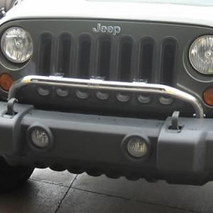 Lighting - Lighting Mounts - Rugged Ridge - Rugged Ridge Bumper Mounted Light Bar, Stainless Steel (2007-15) Jeep Wrangler JK