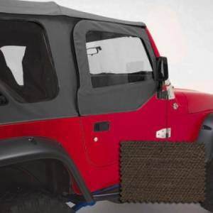 Jeep Doors - Door Accessories - Rugged Ridge - Rugged Ridge Upper Soft Door Kit, Khaki Denim (1997-06) Jeep Wrangler TJ