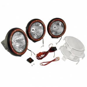 Lighting - Auxiliary Lighting - Rugged Ridge - Rugged Ridge 5 Inch Round HID Off Road Light Kit, Black Composite Housing, Set of 3