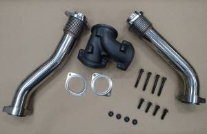 Turbos/Superchargers & Parts - Turbo Up Pipes - AVP - AVP Bellowed Stainless Up-Pipe Kit, Ford (1999.5-03) 7.3L Power Stroke