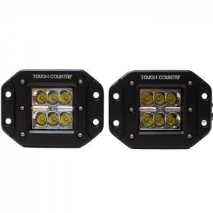"""Off-Road Lighting - LED Lights - Tough Country - Tough Country Torch LED 2""""x2"""" Flush Mount, Pair"""
