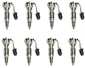 Diamond T Enterprises - Diamond T Fuel Injectors, Ford (2003-10) 6.0L Power Stroke, set of 8 Hybrid 300cc, 100% over nozzle, 7mm Plunger
