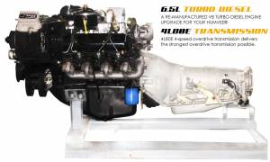 Advanced Vehicles Assembly - AVA Complete Humvee Powertrain Upgrade Kit, 6.5L Turbo & 4L80E, Remanufactured (205hp)