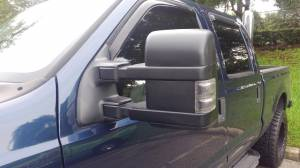 Exterior Accessories - Mirrors - AVP - AVP Mirror Kit, Ford (1999-07) Super Duty & Excursion, Smoked Lens with Amber LED, Power & Heated