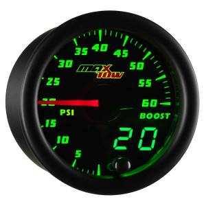 "2-1/16"" Gauges - MaxTow White Double Vision Series - MaxTow Gauges - MaxTow Double Vision Boost Pressure Gauge, 60psi"