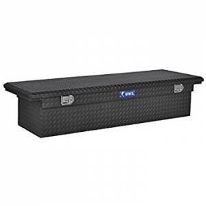 "UWS Tool Boxes - UWS Truck Tool Box, 72""L x 19.25""W x 13.5""H Aluminum Diamond Plate, Single Lid, Low Profile, Matte Black"