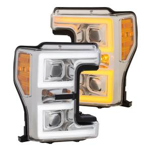 Lighting - Headlights/Driving Lamps - Anzo - Anzo Projector Headlight, Ford (2017-18) Super Duty (Chrome Housing/ Clear Lens)