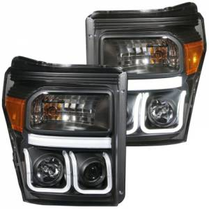 Anzo - Anzo Projector Headlight, Ford (2011-16) Super Duty (Black Housing/ Clear Lens)