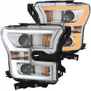 Lighting - Headlights/Driving Lamps - Anzo - Anzo Projector Headlight, Ford (2015-17) F-150 (Chrome Housing/ Clear Lens)