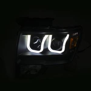 Anzo - Anzo Projector Headlight, Ford (2009-14) F-150 (Black Housing/ Clear Lens) - Image 4