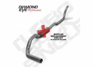 "Exhaust - 4"" Turbo/Down-Pipe Back Single Exit Exhaust - Diamond Eye Performance - Diamond Eye 4"" Turbo Back Exhaust, Dodge (1989-93) 2500/3500, 5.9L Cummins, 2wd, Single, Aluminized, (No Muffler)"
