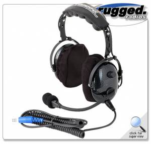 Rugged Radios - Rugged Radios H22 Over The Head Ultimate Carbon Fiber 2-Way Headset