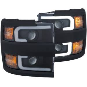 Lighting - Headlights/Driving Lamps - Anzo - Anzo Projector Headlight, Chevy (2015-18) 2500/3500 (Black Housing/ Clear Lens)