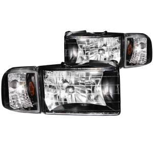 Anzo - Anzo Projector Headlight, Dodge (1994-01) 2500/3500 (Black Housing/ Clear Lens)