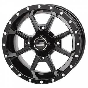 """Frontline Tires - Frontline All Terrain 556,Yamaha, YXZ, Wolverine,Viking, UTV Wheels - 12"""" wheels (Black)"""