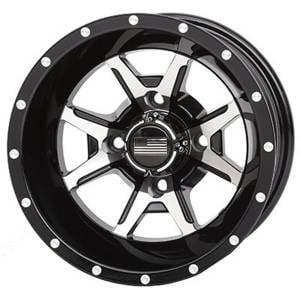 """UTV Tires/Wheels - Wheels - Frontline Tires - Frontline All Terrain 556, Machined Black, UTV Wheels - 14"""" wheels (4/110) 5+2 Offset, +10mm"""